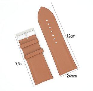 Horlogeband Leer - Met Gladde Oppervlak + Push Pin - 24mm Licht Bruin