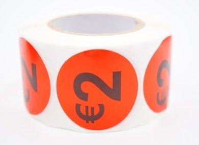 Prijs/Korting 2 euro stickers 500 stk - Dia: 2cm