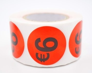 Prijs/Korting 6 euro stickers 500 stk - Dia: 2cm