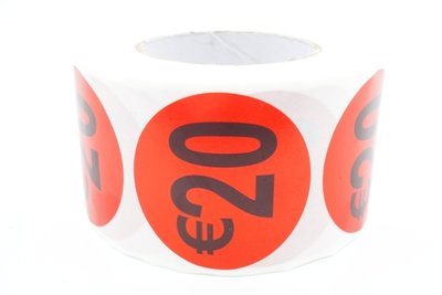 Prijs/Korting 20 euro stickers 500 stk - Dia: 2cm
