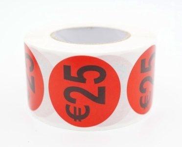 Prijs/korting 25 euro stickers 500 stk - Dia: 2cm