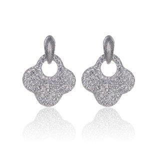 Retro Oorbellen Met Glitters - Blad - Oorhangers 4x4 cm - Zilver