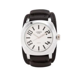 AMBER TIME - Leren Horloge - Dikke Band - 5cm Breed - Zwart