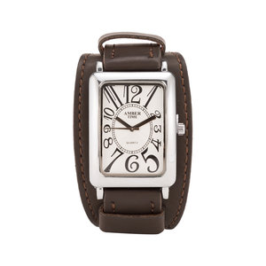 AMBER TIME - Leren Horloge - Dikke Band - 5cm Breed - Bruin