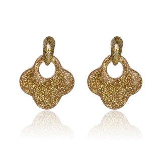 Oorbellen Met Glitters - Blad - Oorhangers 4x4 cm - Geel