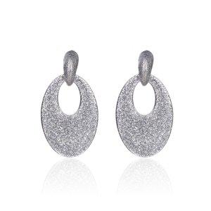 Oorbellen Met Glitters - Ovaal - Oorhangers 5x3,5 cm - Zilver