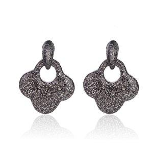 Oorbellen Met Glitters - Blad - Oorhangers 4x4 cm - Zwart / Zilver