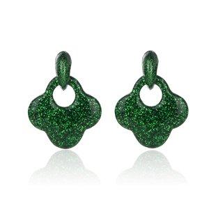 Oorbellen Met Glitters - Blad - Oorhangers 4x4 cm - Groen