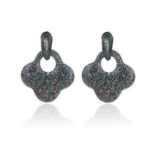 Oorbellen Met Glitters - Blad - Oorhangers 4x4 cm - Multi Color