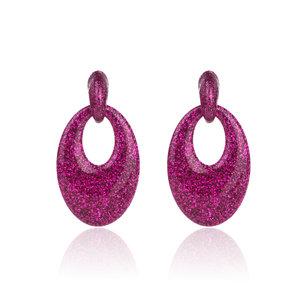 Oorbellen Met Glitters - Ovaal - Oorhangers 5x3,5 cm - Roze