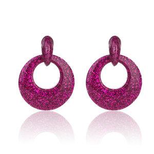 Oorbellen Met Glitters - Ovaal - Oorhangers 4x4 cm - Roze