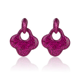 Oorbellen Met Glitters - Blad - Oorhangers 4x4 cm - Roze