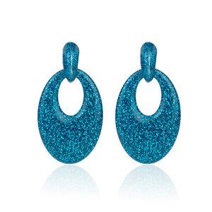 Oorbellen Met Glitters - Ovaal - Oorhangers 5x3,5 cm - Blauw