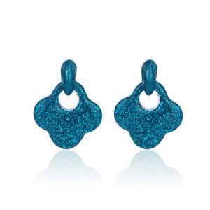 Oorbellen Met Glitters - Blad - Oorhangers 4x4 cm - Blauw