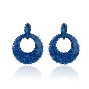 Oorbellen Met Glitters - Rond - Oorhangers 4x4 cm - Donker Blauw