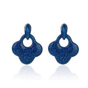 Oorbellen Met Glitters - Blad - Oorhangers 4x4 cm - Donker Blauw