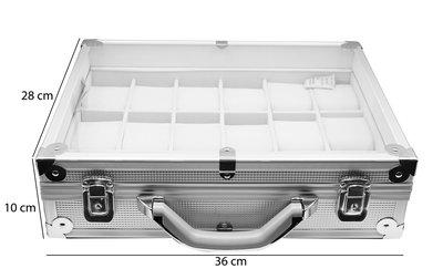 Aluminium koffer met Handvat voor Armbanden & Horloges 18 Vakken