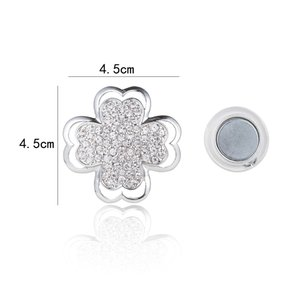 Magneet Broche Bloemen met Strass Stenen - Kleur Zilver