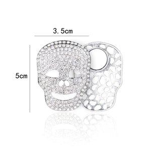 Magneet Broche Skull met Strass Stenen - Zilver