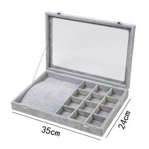 Armbanden/kettingen & Accessoires Display koffer Fluweel Grijs