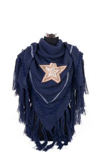 Donker Blauw poncho/omslagdoek met ster 200x90 cm
