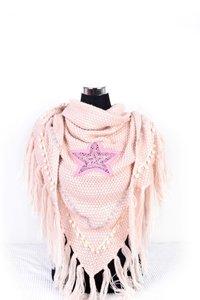 Roze poncho/omslagdoek met ster 200x75 cm
