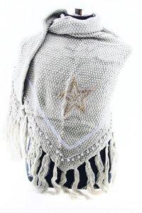 licht Grijs poncho/omslagdoek met ster 200x90 cm