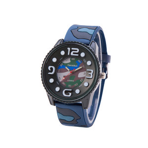 Camouflage Horloge - Silicone band - Blauw & Groen