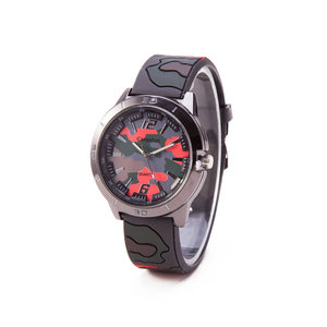 Camouflage Horloge - Silicone Band - Bruin & Rood