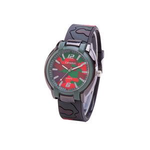 Camouflage Horloge - Siliconen Band - Zwart & Bruin