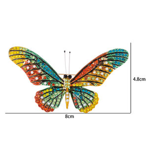 Vlinder Speld-Broche met Gekleurde Zirkonia