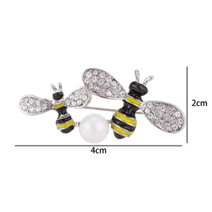 Bee Pin-Brooch with Colored Zirconia