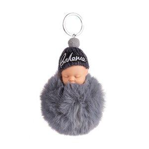 Baby Sleutel/Tas hanger met Muts - Grijs - 16 cm