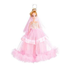 Sleutelhanger - Prinses met Bruidsjurk & Parel Hals Ketting - 27 cm - Roze