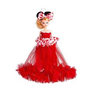 Sleutelhanger - Prinses met Bruidsjurk met een strik & Hartjes - 27 cm - Rood