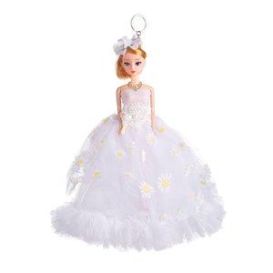 Sleutelhanger - Prinses met Bruidsjurk met een strik & Bloemetjes - 27 cm - Wit