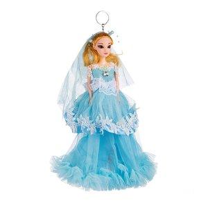Sleutelhanger - Prinses met Bruidsjurk met een Zirkonia Steen - 27 cm - Blauw