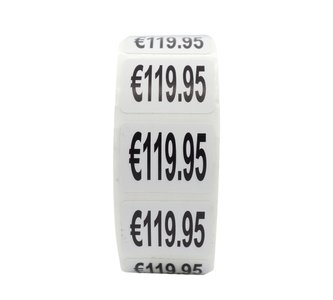 Prijs stickers €119,95 500 stk - 2 cm Breed x 1,5 cm Hoog