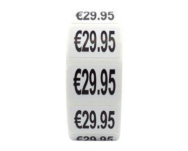 Prijs stickers €29,95 500 stk - 2 cm Breed x 1,5 cm Hoog