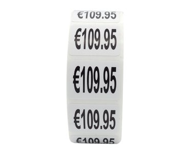 Prijs stickers €109,95 500 stk - 2 cm Breed x 1,5 cm Hoog