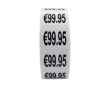 Prijs stickers €99,95 500 stk - 2 cm Breed x 1,5 cm Hoog