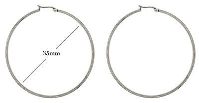 Statement Oorbellen - Stainless Steel Hoop Earrings - Zilver - Dia: 35mm