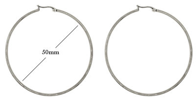 Statement Oorbellen - Stainless Steel Hoop Earrings - Zilver - Dia: 50mm