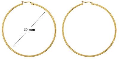 Statement Oorbellen - Stainless Steel Hoop Earrings - Gold - Dia: 20mm