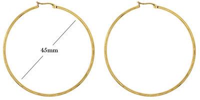 Statement Oorbellen - Stainless Steel Hoop Earrings - Gold - Dia: 45mm