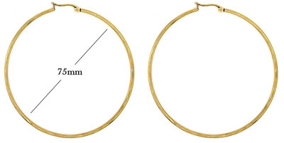 Statement Oorbellen - Stainless Steel Hoop Earrings - Goud - Dia: 75mm