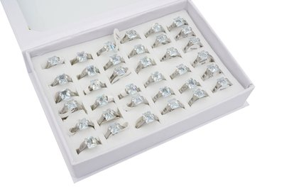 36 RVS Ringen - Zirkonia - Zilver