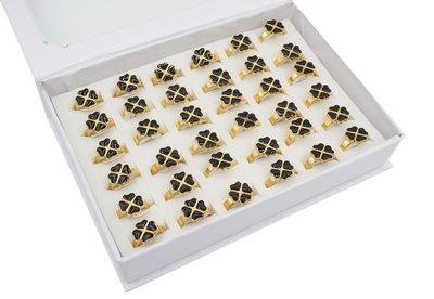 36 RVS Ringen - Bloemen - Zwart & Goud