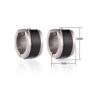 Creolen RVS Oorringen Roestvrij Staal - Zwart & Zilver
