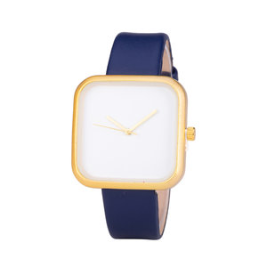 Leren Dames Horloge - Vierkant - Blauw